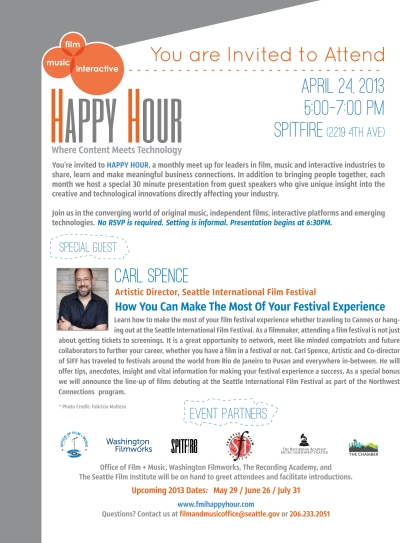 Join us for the Film + Music + Interactive Happy Hour Next Week!